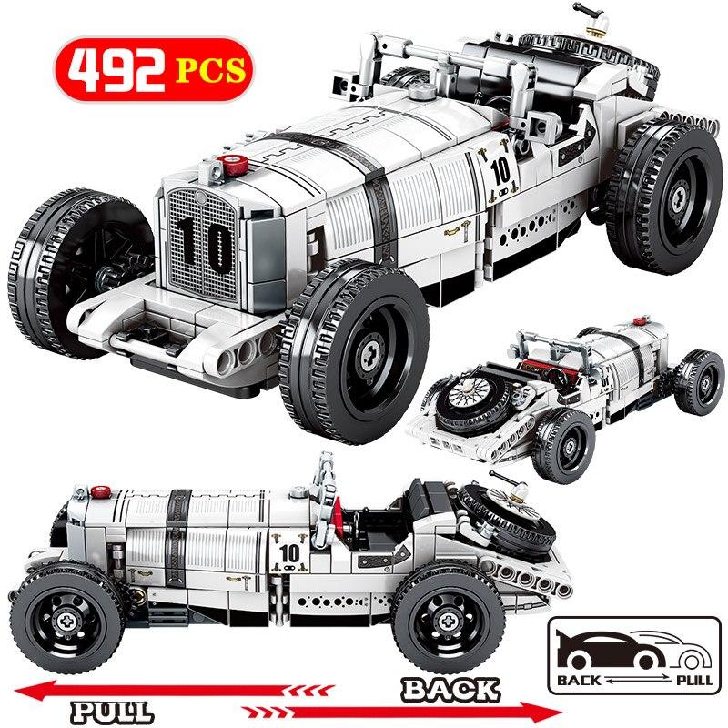 City Creator Mechanical Pull Back Classic Racing Car model Building Block Technic Supercar Vehicle MOC Brick Toy For Children